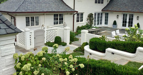 walled garden, hydrangeas & boxwood