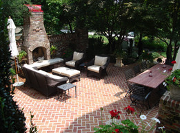 historic property - wine tasting courtyard with fireplace, using reclaimed brick