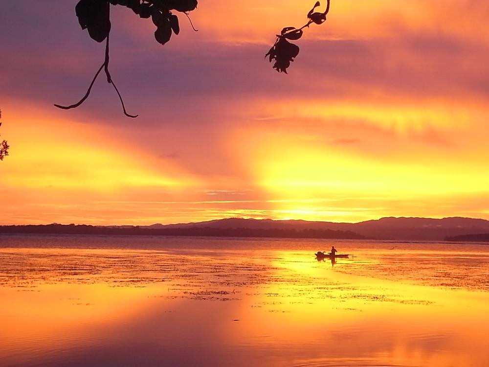 パプラニューギニアで見た夕日