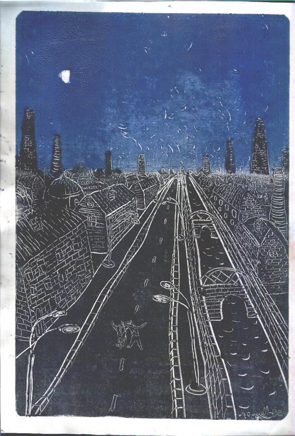 Двое в городе (монотипия). 1992
