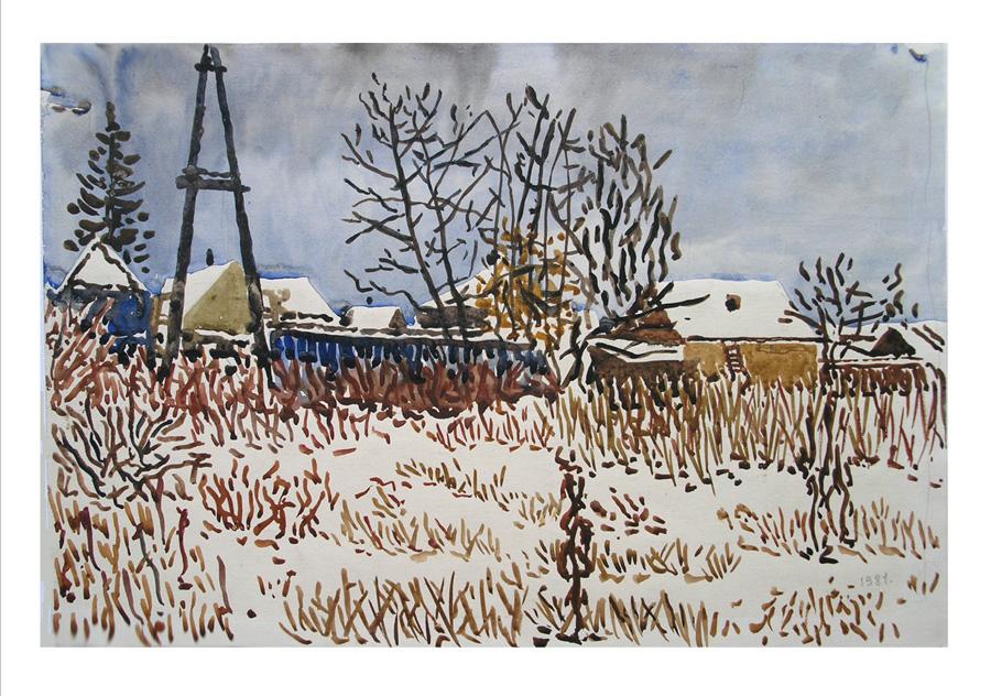 Поле. первый снег. 1983