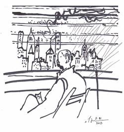 """Манхеттен (рисунок к стихотворению """"Дождь на Земле""""). 2013"""