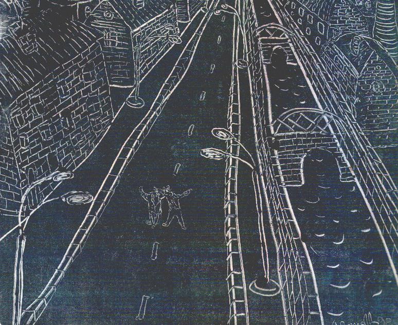Двое в городе. Фрагмент (монотипия). 1992