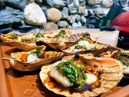 BBQ Scallops in shells