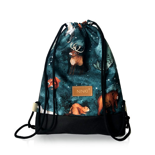 worko - plecak poliester (gwiazdozbiór zwierząt - czarny)