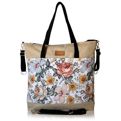 wodoodporna torba do wózka - shopper (kwiaty vintage  - beż)