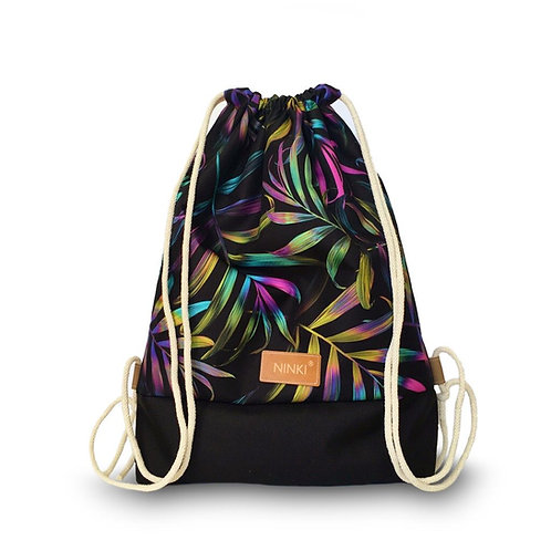 worko - plecak poliester (neonowe liście palmowe - czarny)