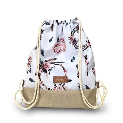 worko - plecak poliester (łapacz snów i różowe kwiaty na białym tle - beżowy)