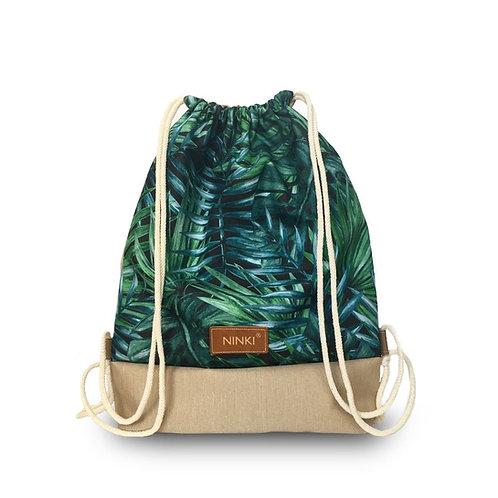 worko - plecak poliester (zielone liście palmowe - beż)