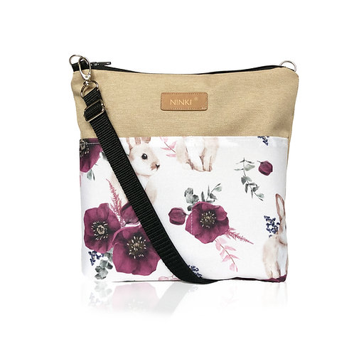 wodoodporna torebka dla dziewczynki (króliczek i fioletowy kwiat - beż)