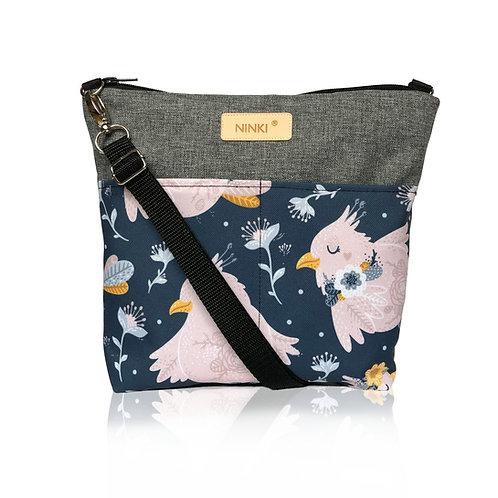 wodoodporna torebka dla dziewczynki (różowy ptak na granatowym tle)