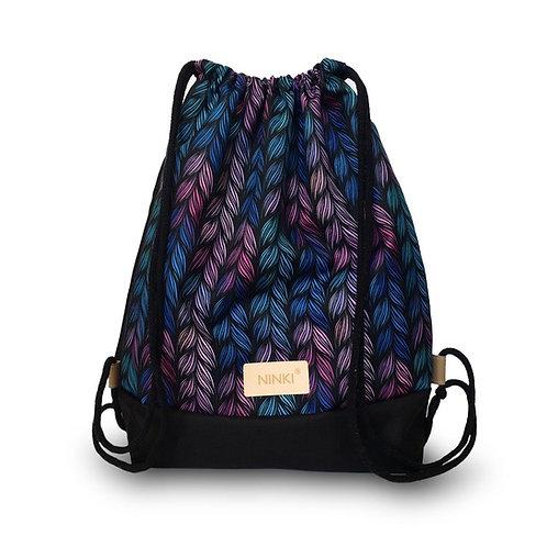 worko - plecak poliester (kolorowy warkocz - czarny)