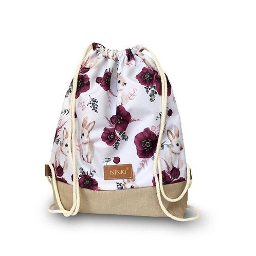 worko - plecak poliester (króliczki i fioletowe kwiaty - beż)