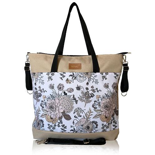 wodoodporna torba do wózka - shopper (kwiaty vintage białe tło  - beż)