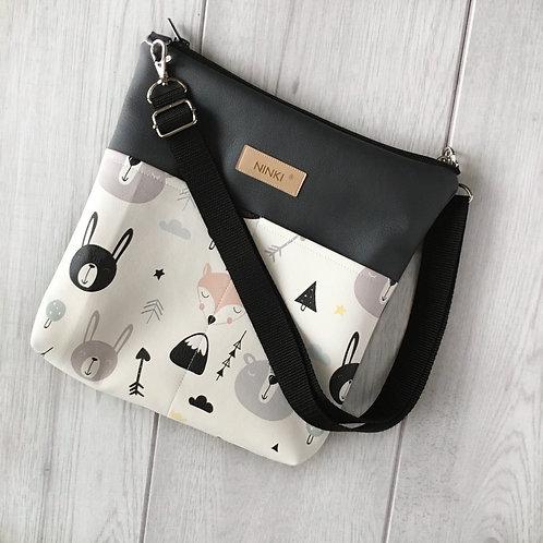 torebka dla dziewczynki ekoskóra (czarno-białe zwierzątka)