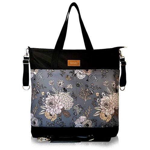 wodoodporna torba do wózka - shopper (kwiaty vintage ciemne tło - czarna)