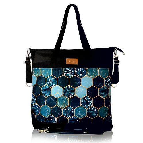 wodoodporna torba do wózka - shopper ( palmowe plastry -czarna)
