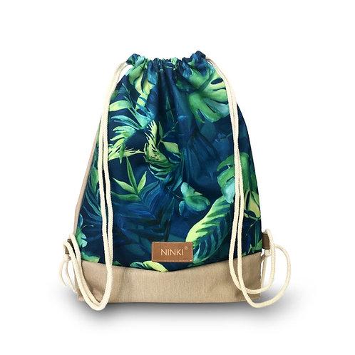 worko - plecak poliester (zielona monstera - beż)