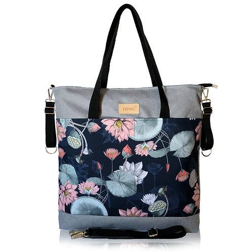 wodoodporna torba do wózka - shopper ( lilia wodna - jasno szara)