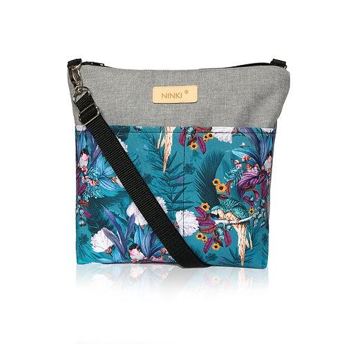 wodoodporna torebka dla dziewczynki (papugi na turkusowym tle)