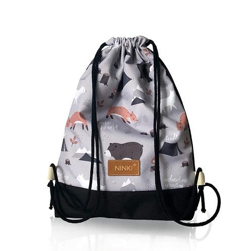 worko - plecak poliester (zwierzęta na szarym tle - czarny)