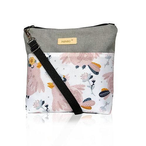 wodoodporna torebka dla dziewczynki (różowy ptak na białym tle)