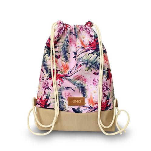 worko - plecak poliester (różowe tropiki - beż)