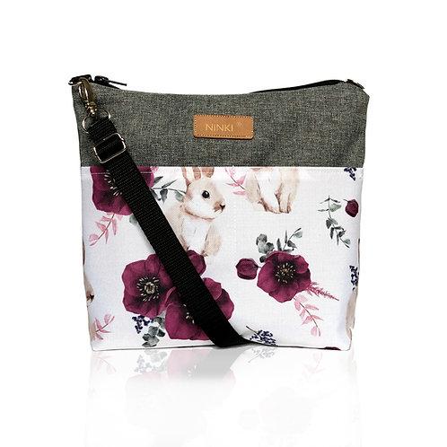 wodoodporna torebka dla dziewczynki (króliczek i fioletowy kwiat - ciemny szary)