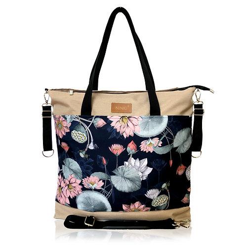 wodoodporna torba do wózka - shopper ( lilia wodna -beż )