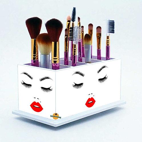 Porta Pincel De Maquiagem Personalizado Branco - Beijo Mod2