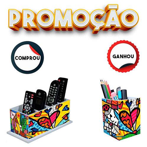 Porta Controle Remoto decoração - Romero Britto Mod. 5 + Brinde
