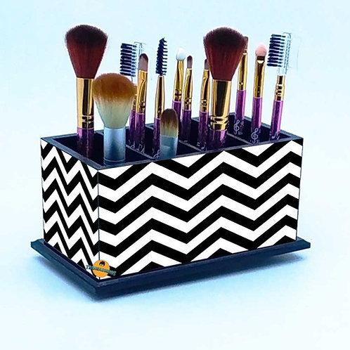 Porta Pincel De Maquiagem -  Decoração Chevron Listrada