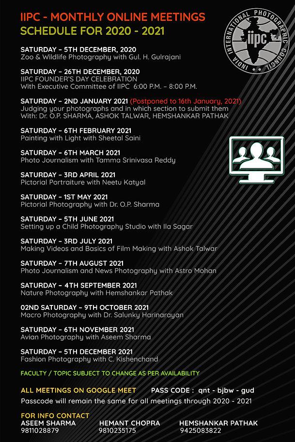 IIPC - Monthly Online Meetings Schedule