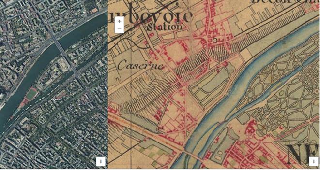 Comparatif 2020 et carte d'état major 1820_1865