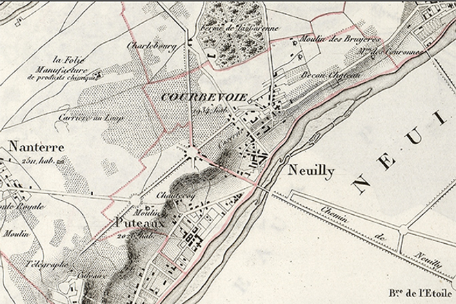 et Banlieue, supplément au ″Petit atlas pittoresque des 48 quartiers de la ville de Paris, imprimé entre 1834 et 1836, https://bibliotheques-specialisees.paris.fr/ark:/73873/pf0000712880?
