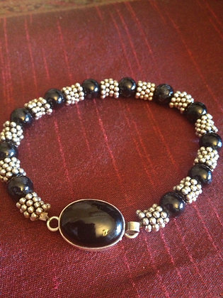 Black Onyx and Sterling Spacer Bracelet