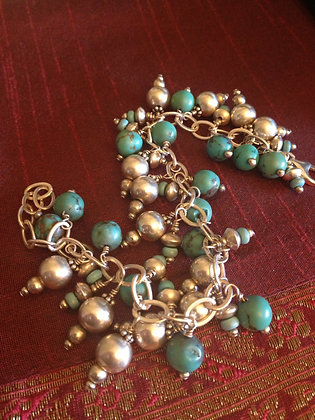 Turquoise and Silver Gypsy Charm bracelet