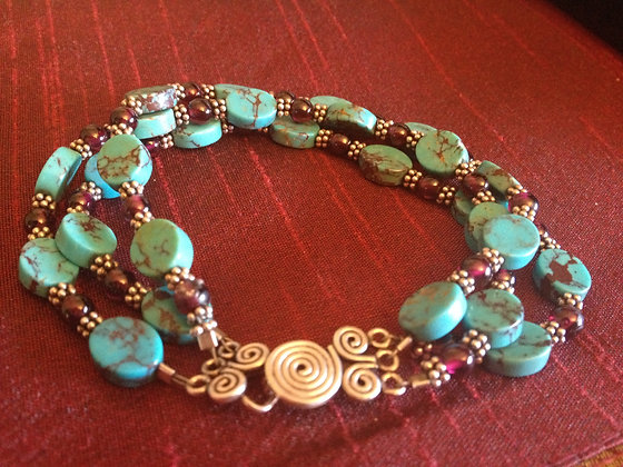 Flat Turquoise Garnet and Sterling Bracelet