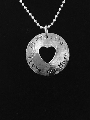 """Beatles Inspired """"I Love You More"""" Lyric Necklace"""