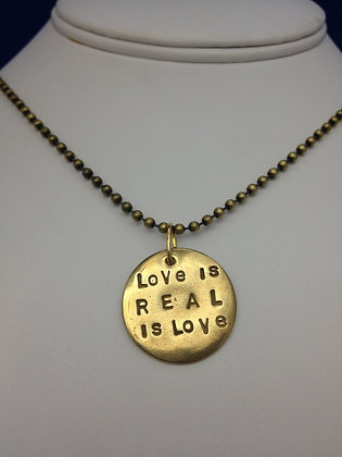 "Beatles Inspired ""Love is Real"" Bronze Necklace"