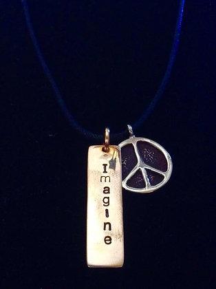 """""""LJ"""" - """"Imagine Peace"""" Necklace"""