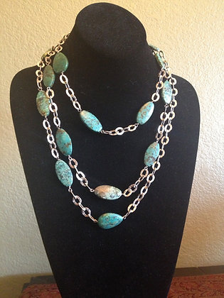 """60"""" Turquoise drops on textured SS Chain"""