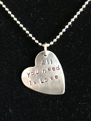 """Beatles Inspired """"All You Need is Love"""" Necklace"""