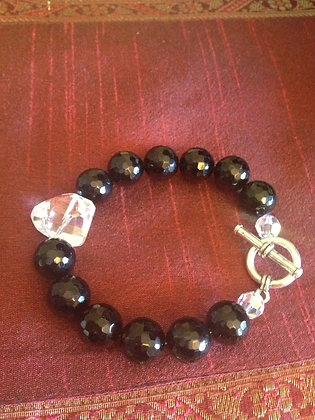 Black and Crystal Elegance Bracelet