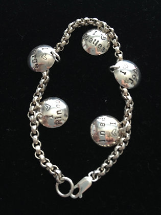 Beatles Inspired SS I LOVE BEATLES Charm Bracelet