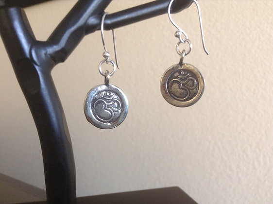 Beatles Inspired Ohm White Bronze SS Earrings