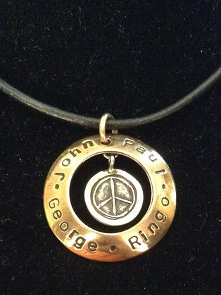 Beatles Inspired Bronze Boys In a Circle Necklace
