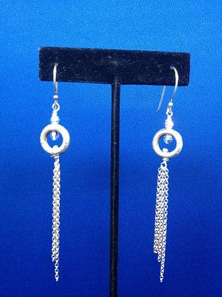 Sterling Tassel Circle Crystal Earrings