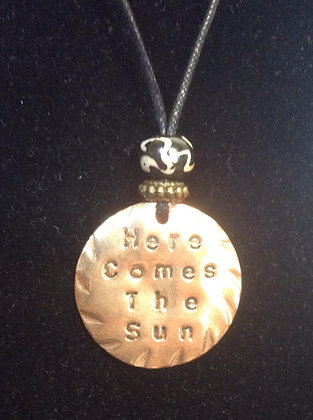 "Beatles Inspired  ""Here Comes The Sun"" Beaded Nec."