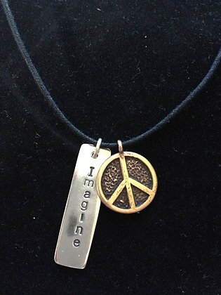 Beatles Inspired Imagine Peace SS&BR Necklace